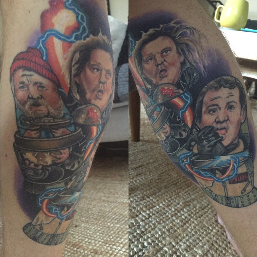 Bill Murray Tattoo - The 3 stages of Bill Murray - Original Russian Dolls Design Colour Calf Tattoo