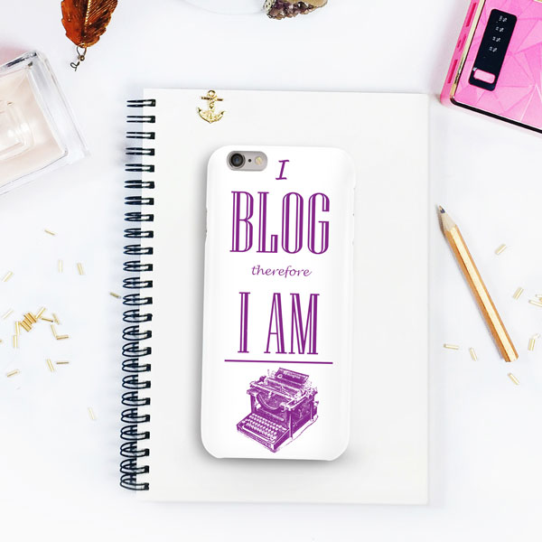 I Blog Therfore I am iphone cover-purple-colour-typewriter-imagery-on-a-desk-#contest