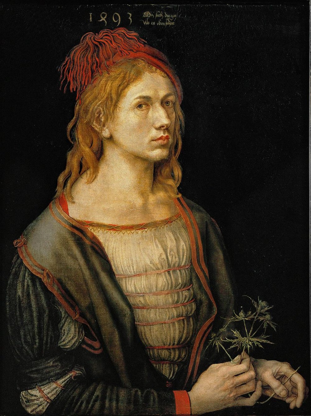 "Albrecht Durer | Portrait of the Artist Holding A Thistle | 1493 | Inscription: "" My affairs follow the course allotted to them on high"""