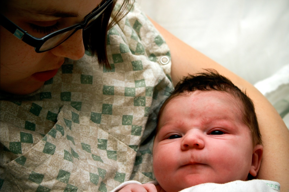 Kate and her firstborn one day after birth.