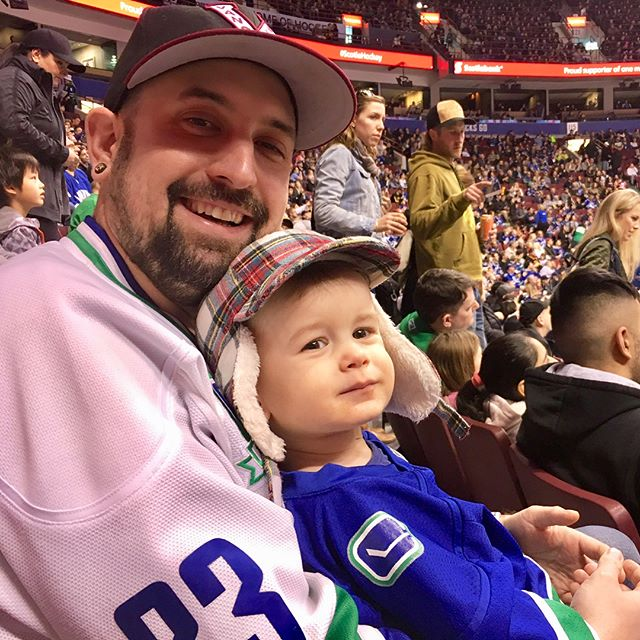 Canucks game on the weekend, Rupert got one last chance to see Hank and Danny take the ice. So happy we get to squeeze a few games in before they retire! #thankyousedins