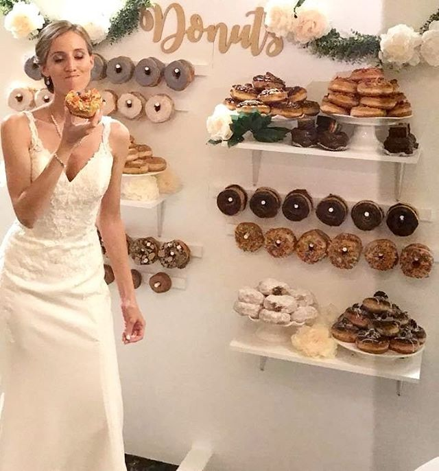 Guide to having an awesome wedding, get a DONUT WALL. congratulations to Amanda and Eric and thank you for letting us provide the donuts for your wedding! #cheers 🍩🥂 ••• #daddysdonuts #weddingseason #wedding #donutwall #donutsupply #donuts #donutobsessed #cheatday #indulge #donutseverday #eeeeeats