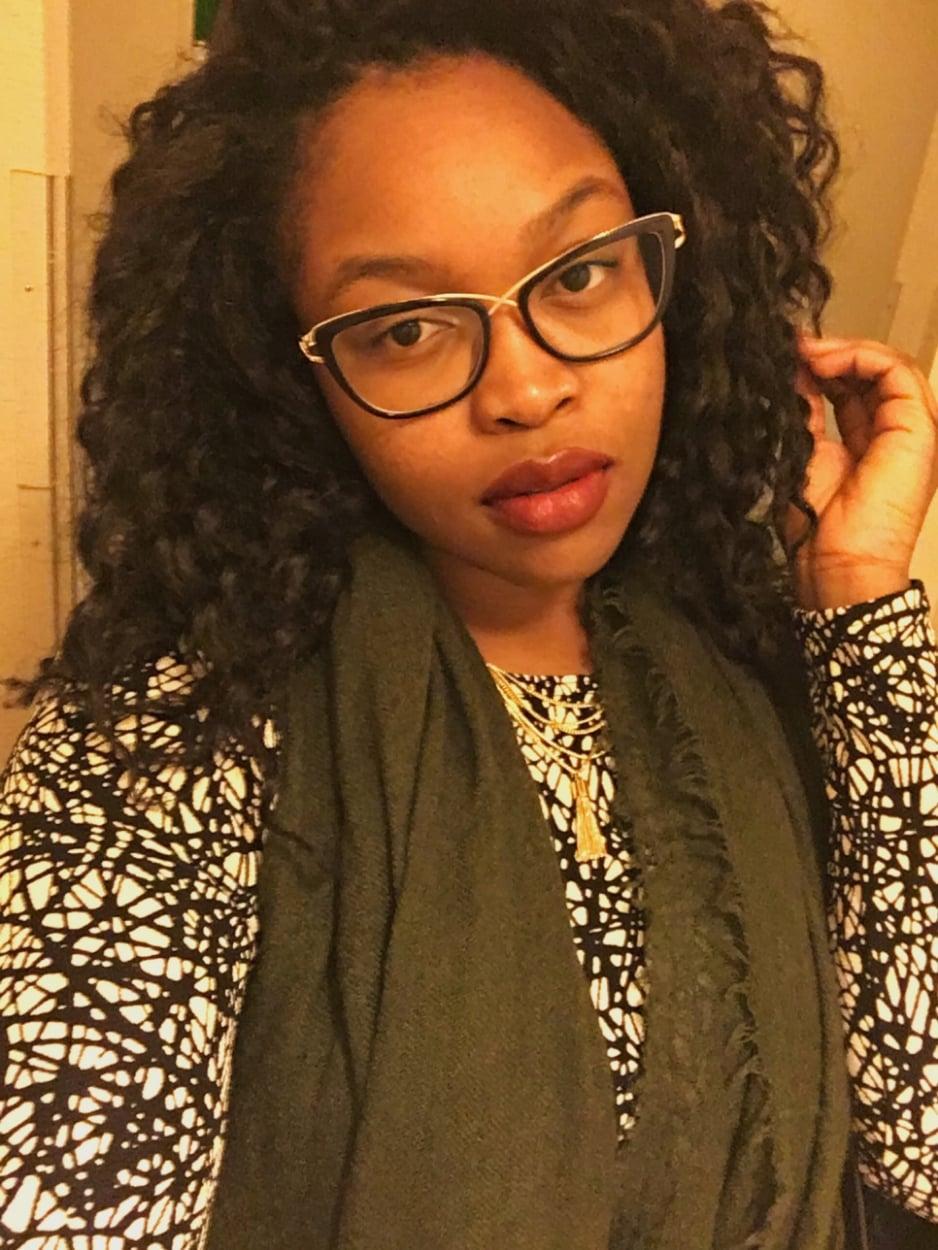Prescription glasses-Firmoo, Dress-Asos, Tassle necklace-Dillards, Scarf-Forever 21