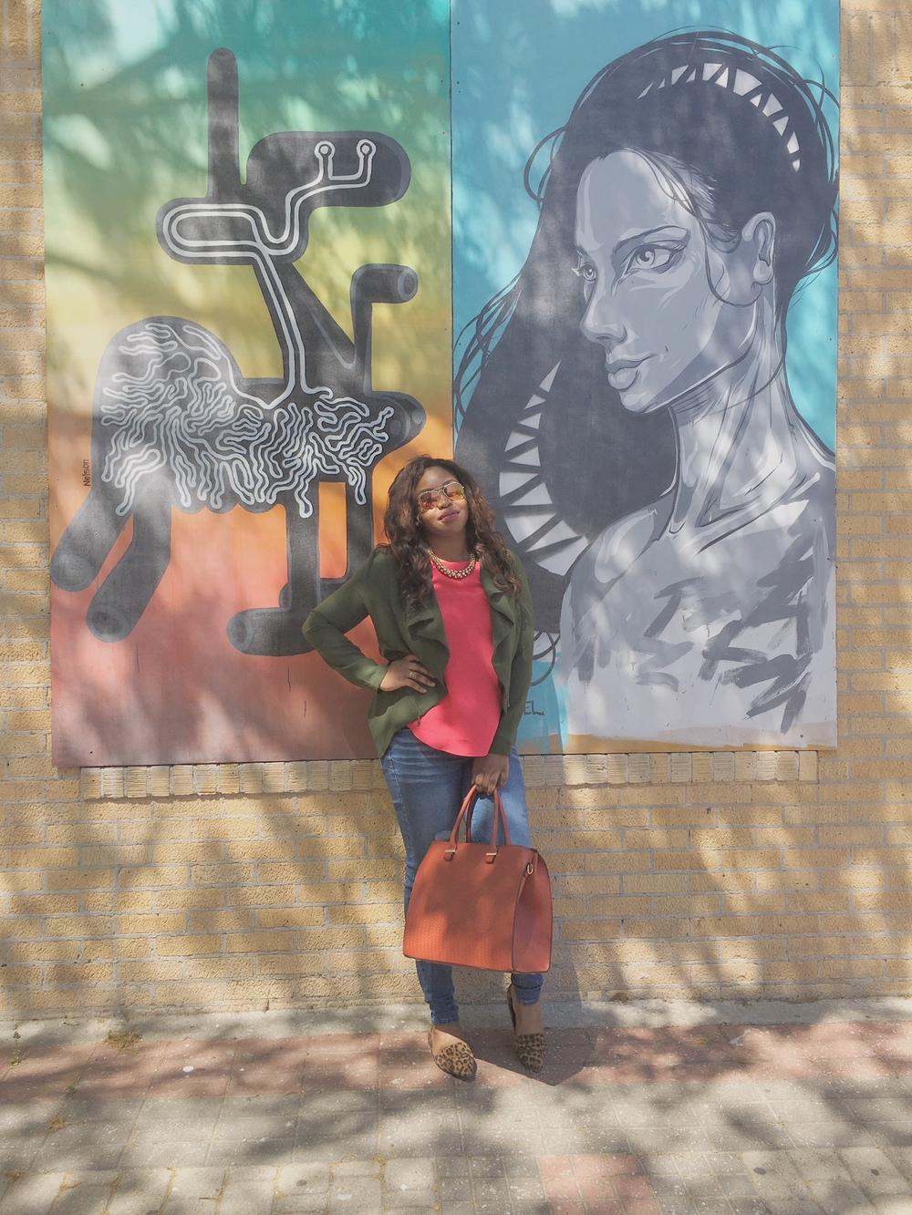What I'm Wearing: Blouse-Ann Taylor Loft, Jacket-JustFab, Jeans-Celebrity Jeans, Shoes-ASOS, Bag-H&M, Necklace-H&M, Sunnies- Francescas