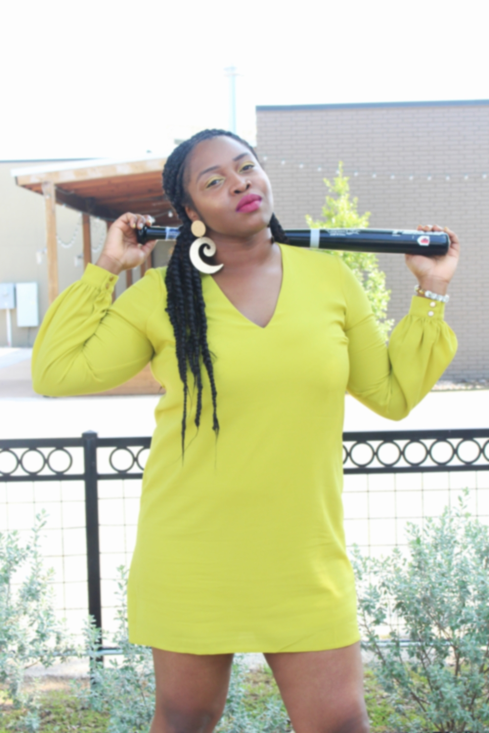 Outfit details: Dress- ASOS, Shoes- JustFab, Earrings & Bracelet- H&M/gifted....Baseball bat-funny store here, I went to several stores, and this is the largest one I could find!