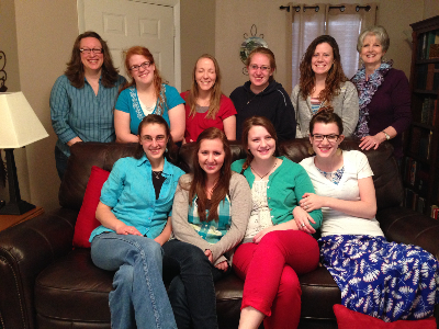 Katie Airhart (back row far left) Women Teaching Women class meeting at our house