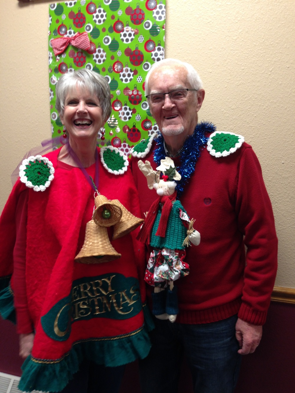 "Kathy won ""Most   Creative"" in our Ugly Christmas Sweater contest!"