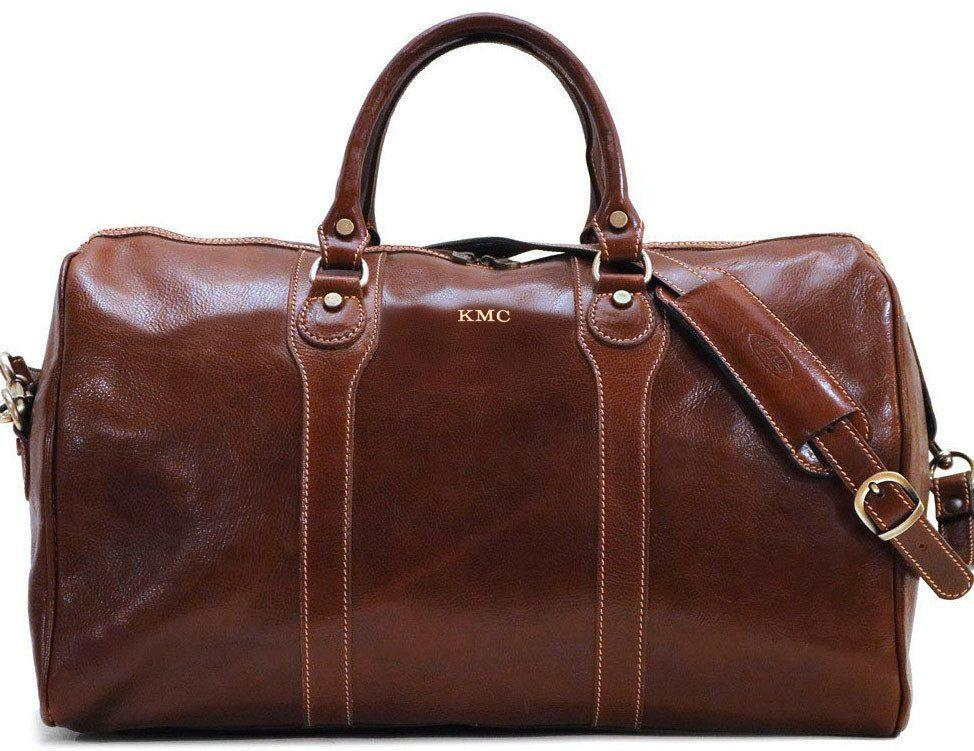 A leather weekender bag is perfect for a quick getaway trip.  Consider having it monogrammed with the couple's initials