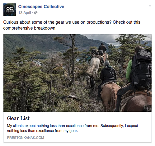 An example from Cinescapes Collective's Facebook. Check out more of their work at   prestonkanak.com