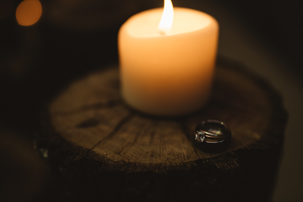 Candlelight Wedding Ring Shot