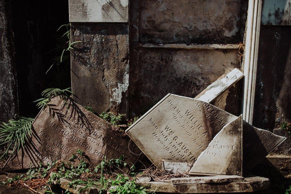 Lafayette Cemetery Broken Headstone
