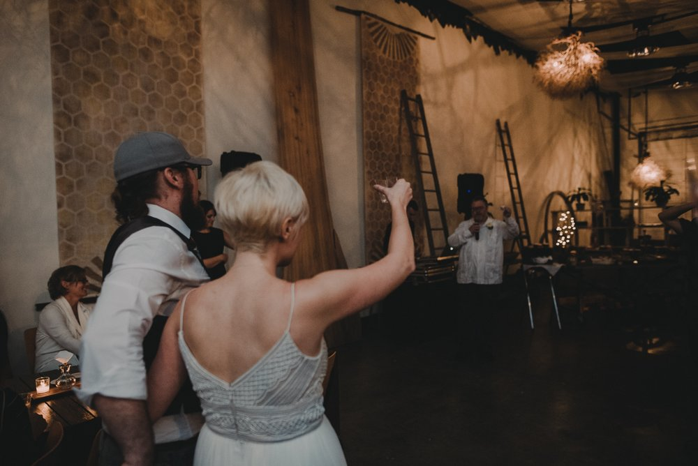 wedding toast with tequila shot