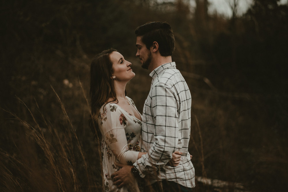 moody engagement portraits