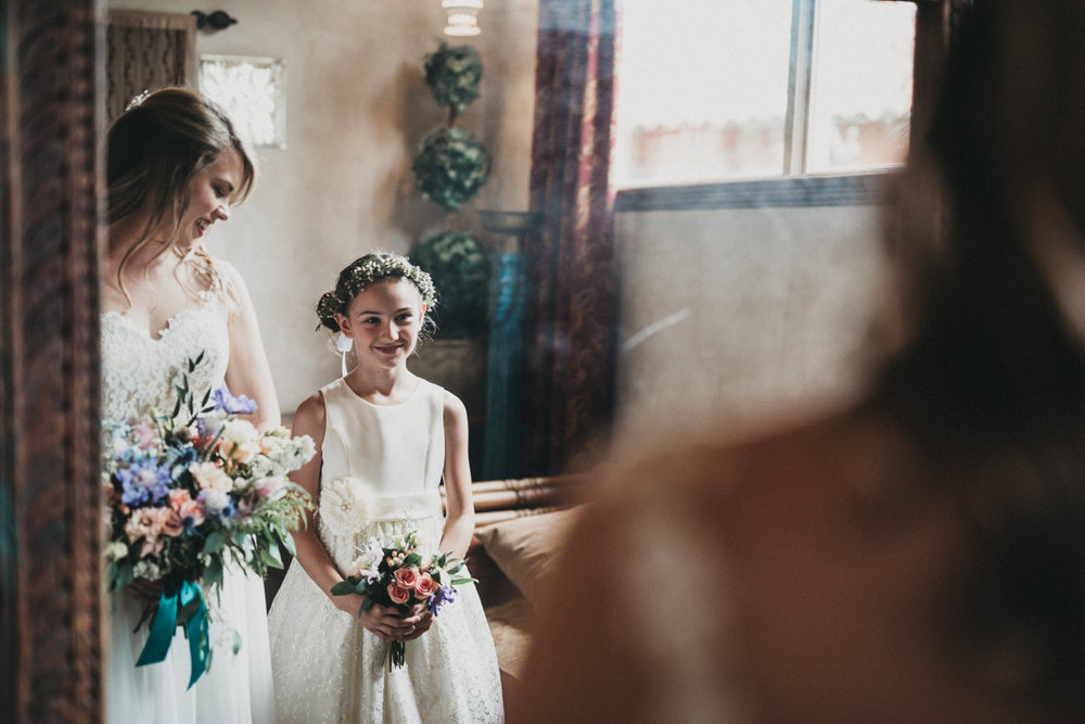 Bride and Flower Girl at Chapel Dulcinea