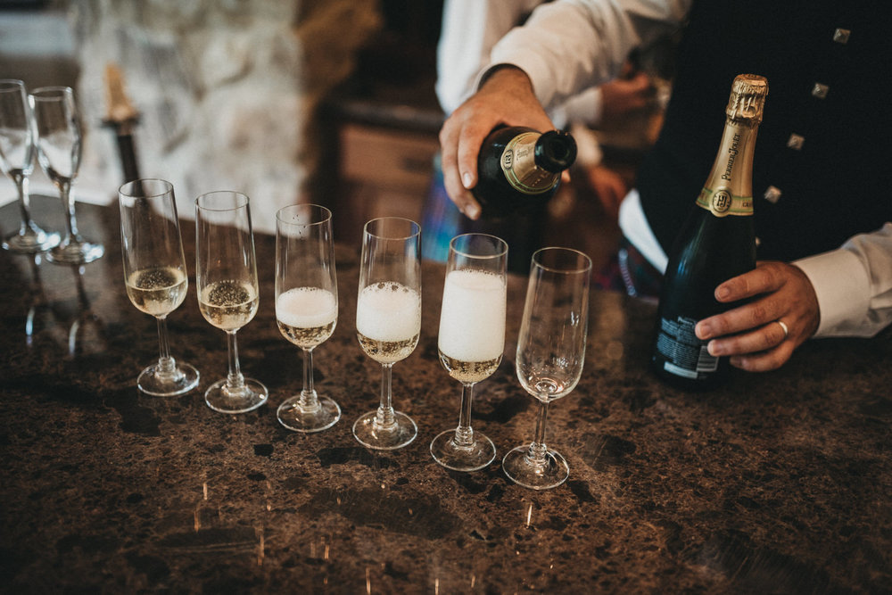 Champagne at wedding reception