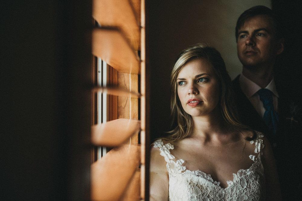 Window wedding portraits