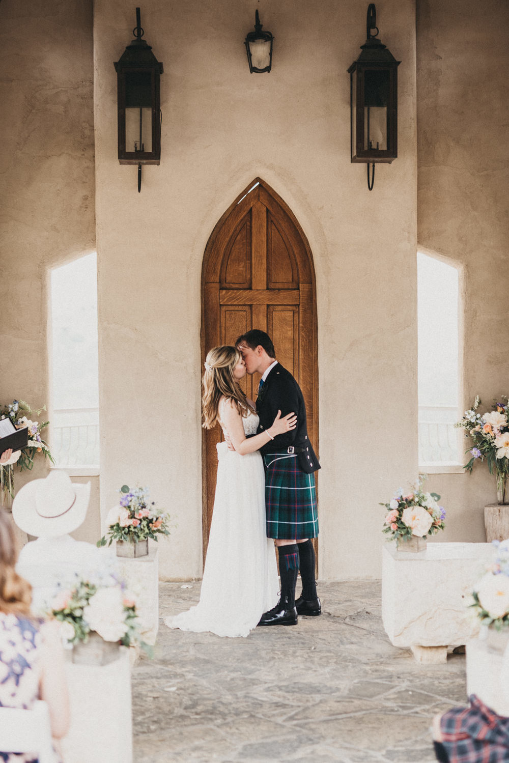 Chapel Dulcinea Wedding First Kiss