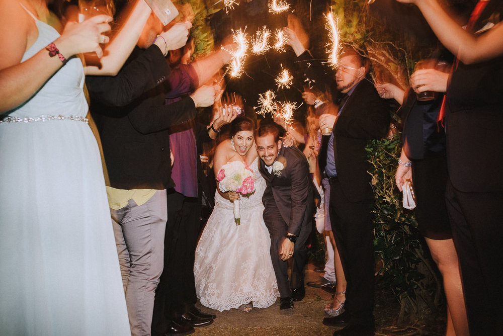 sparkler exit at houston wedding
