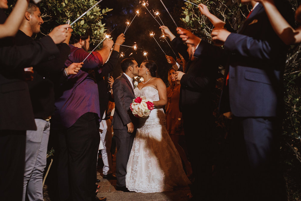 houston wedding sparkler exit