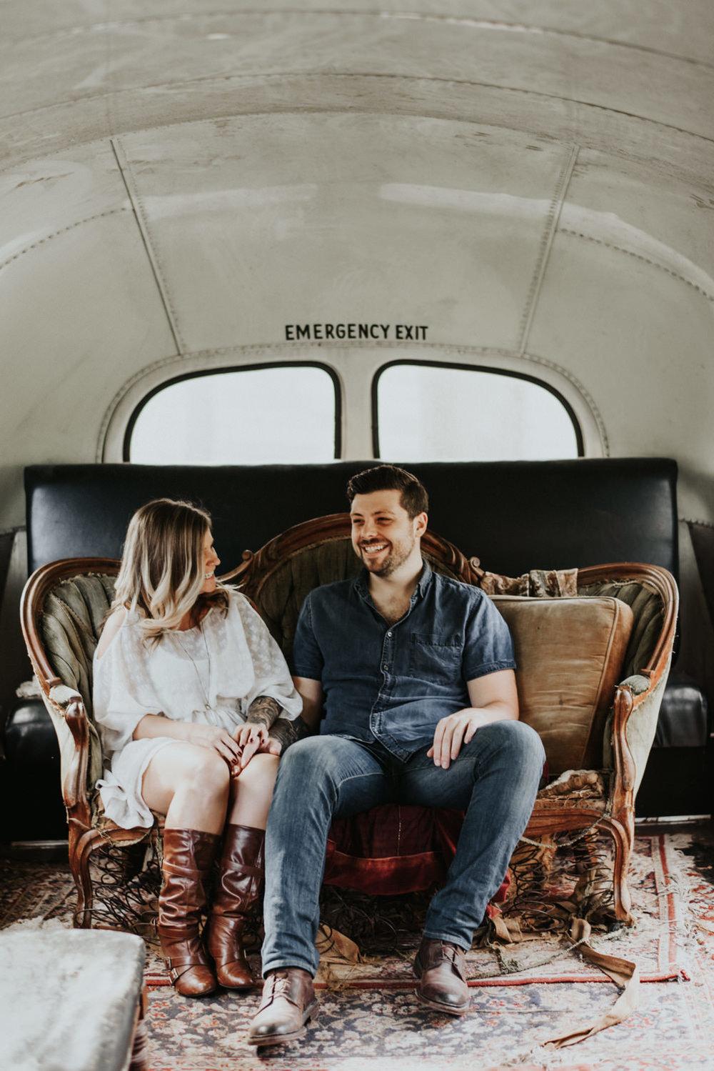 old bus austin engagement