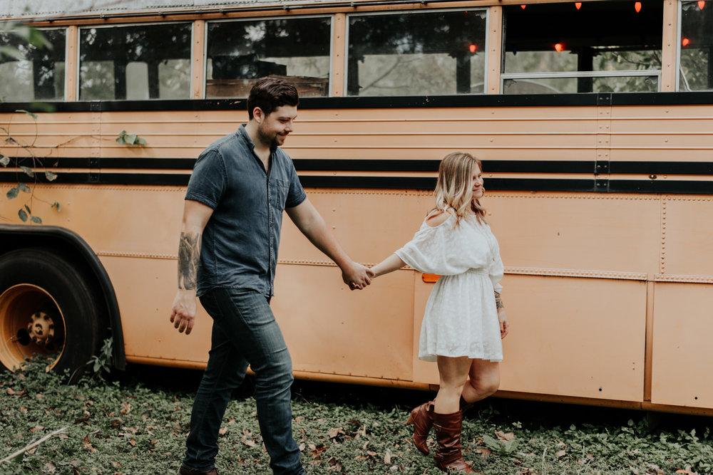 engagement photos in school bus