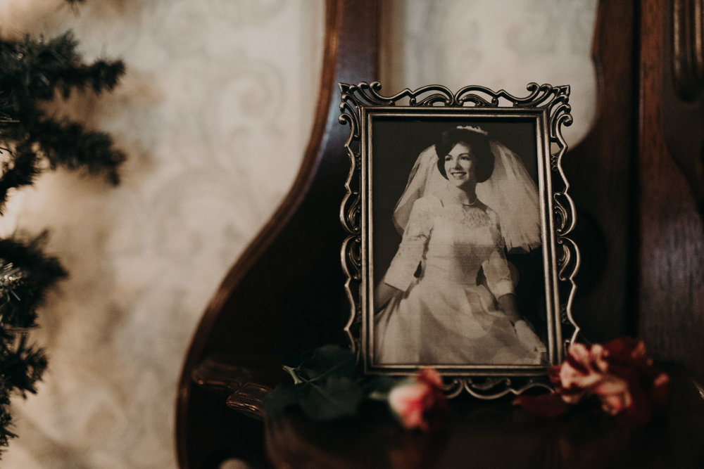 generational old photos displayed at wedding