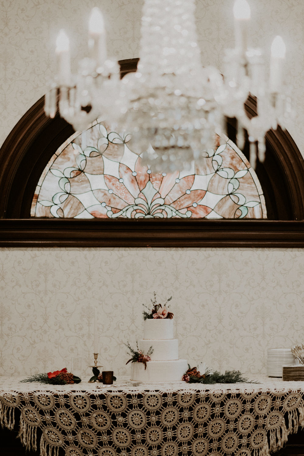 chandelier and wedding cake display