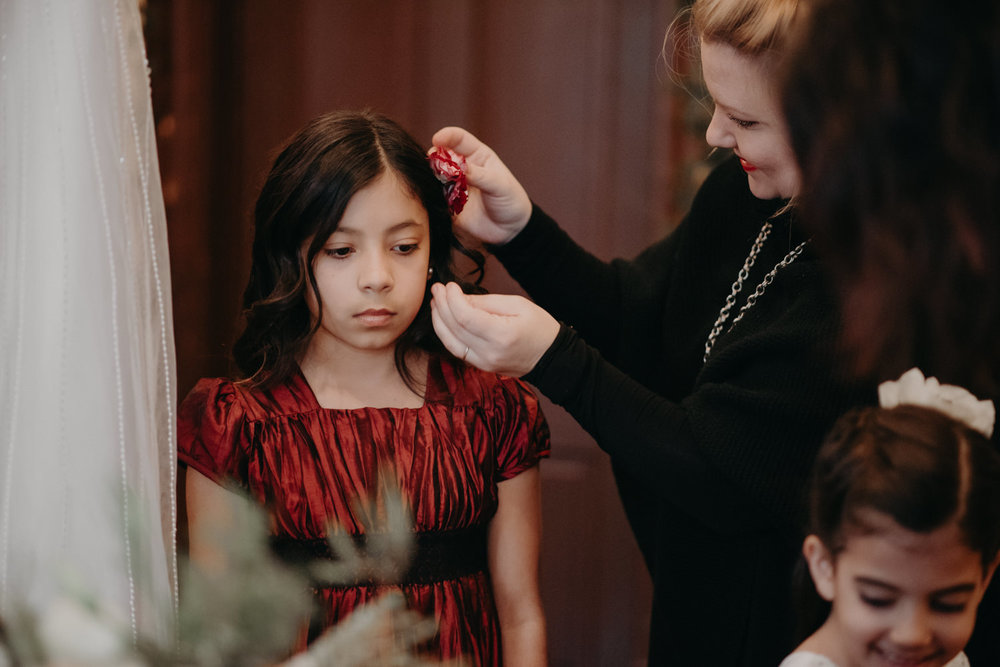 daughter getting ready at wedding