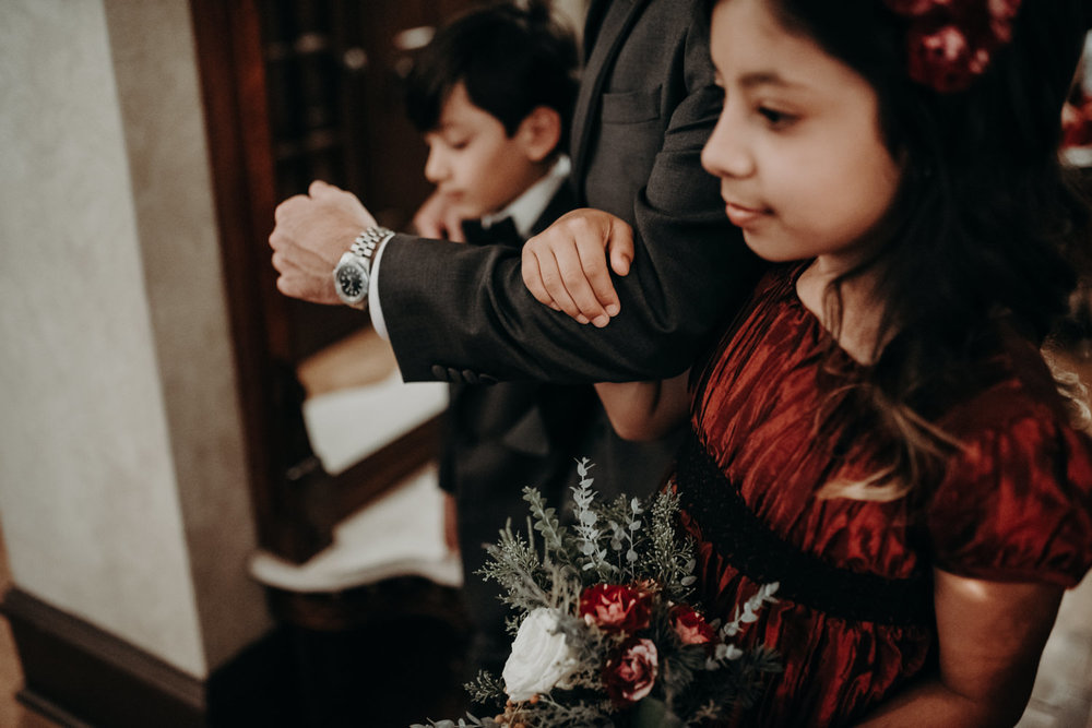 groom and children at home wedding