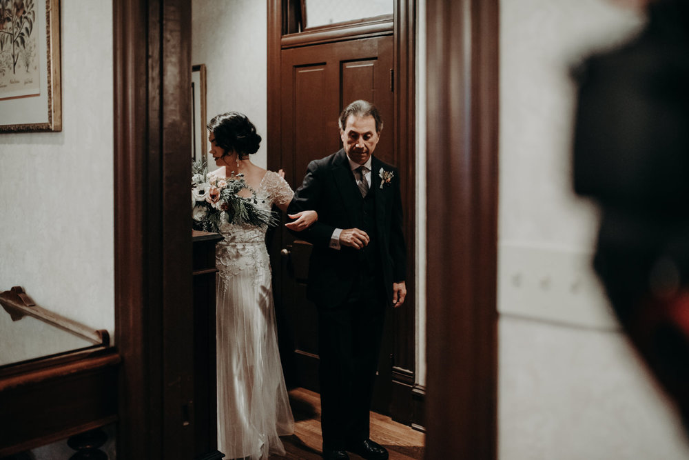 bride and father at wedding in victorian home