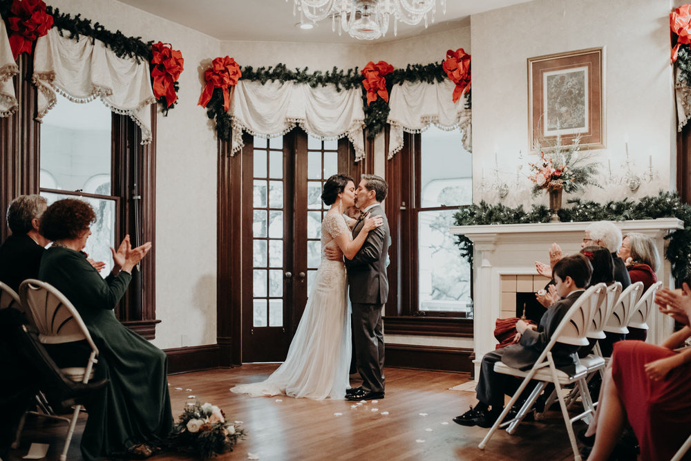 wedding ceremony at caswell house in downtown austin