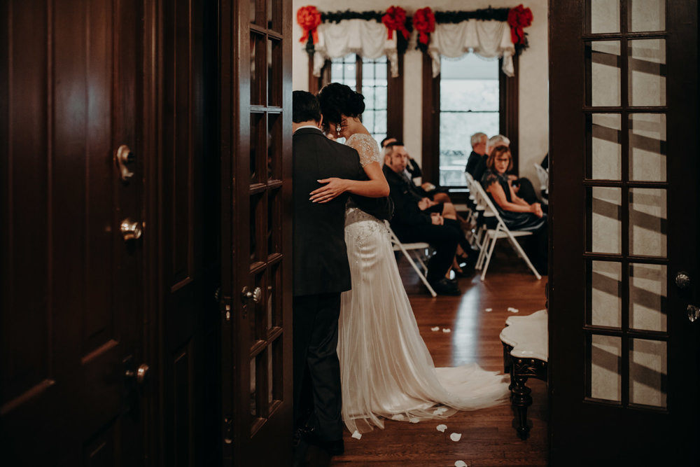 wedding ceremony in victorian home