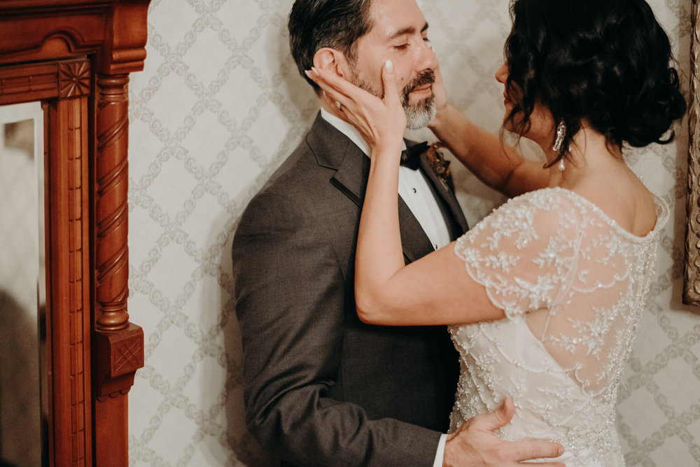 moment between bride and groom at home in downtown austin texas