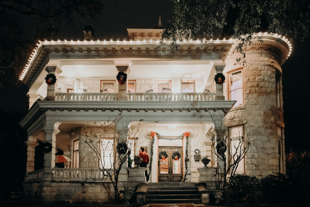caswell house in austin texas at night