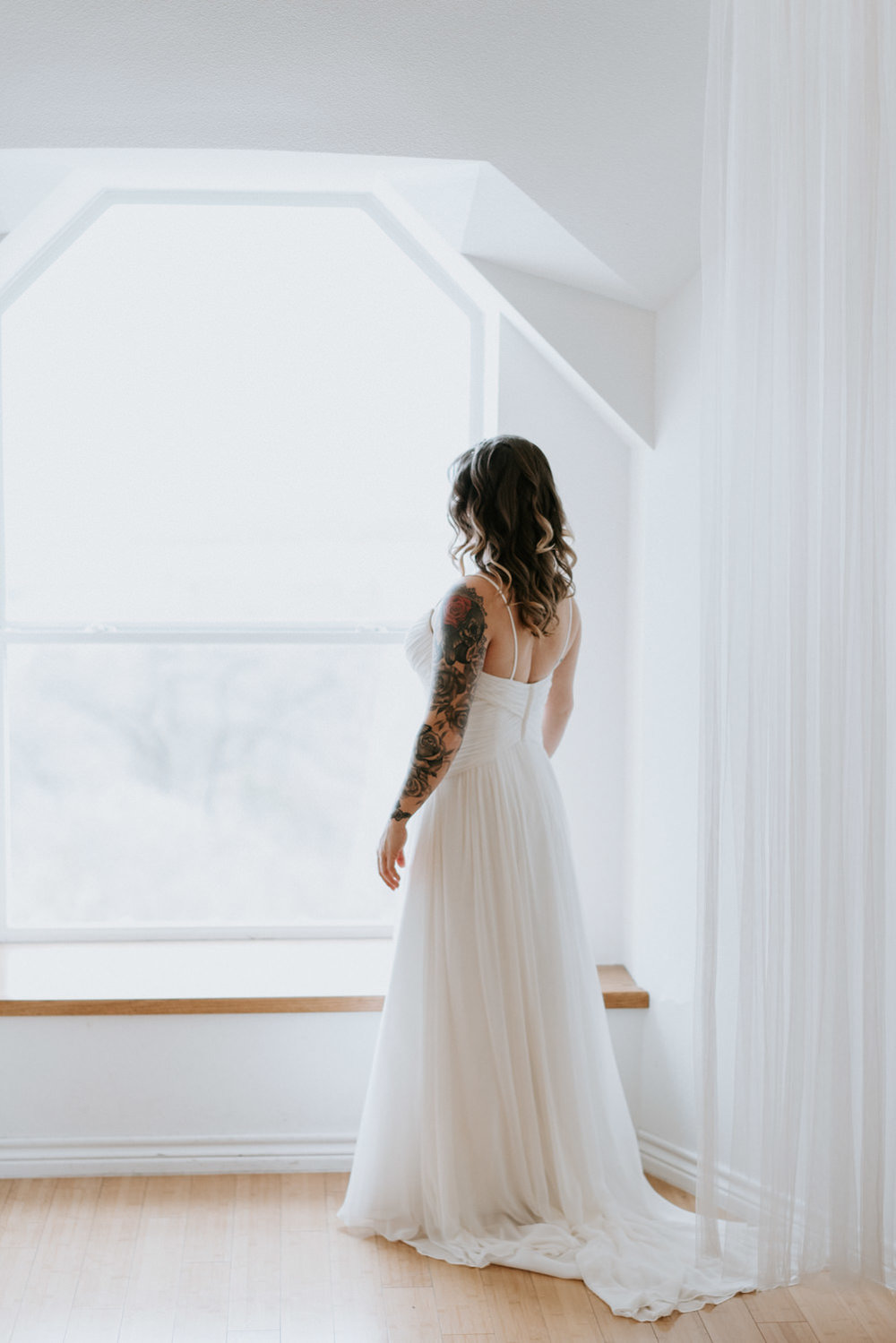 Bride with tattoos portrait by Donny Tidmore Photography