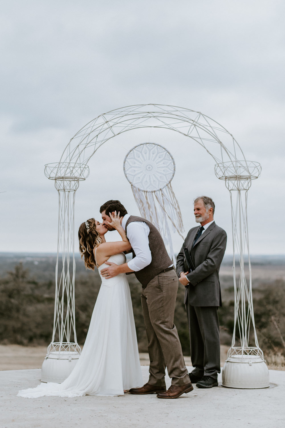 Dreamcatcher wedding decorations at altar
