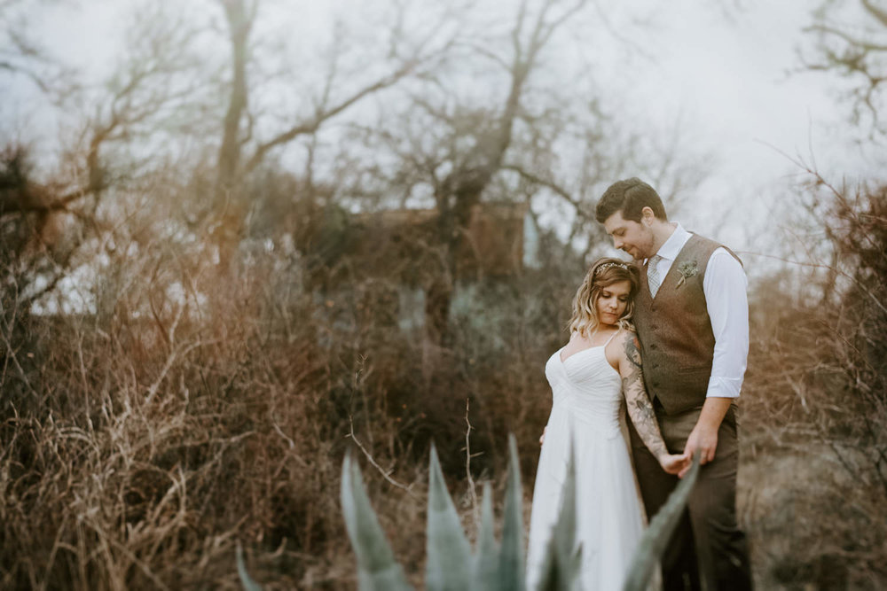 dreamy wedding portrait with succulents