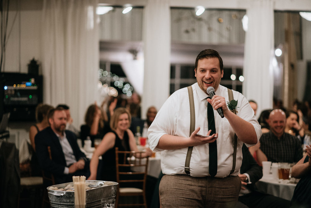 best man gives funny speech at texas wedding
