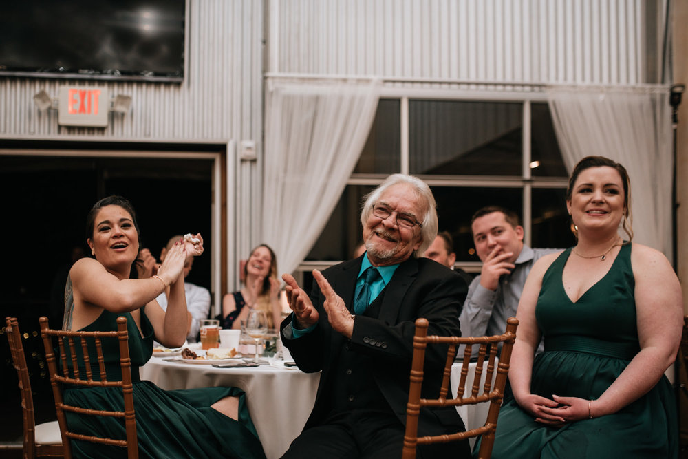 wedding guest react to speech