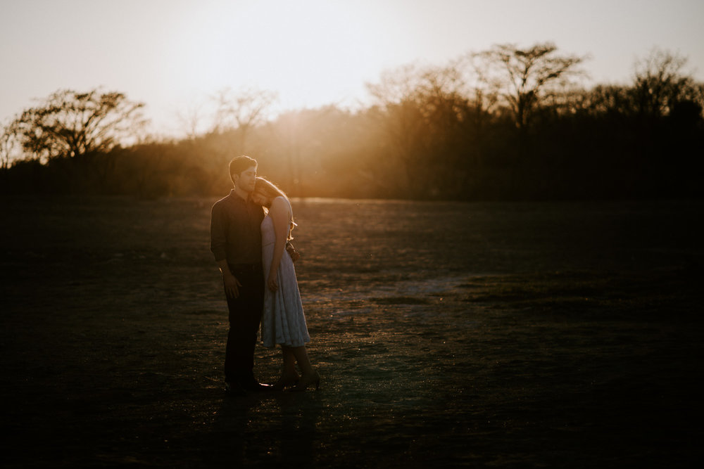 romantic mckinney falls engagement photo