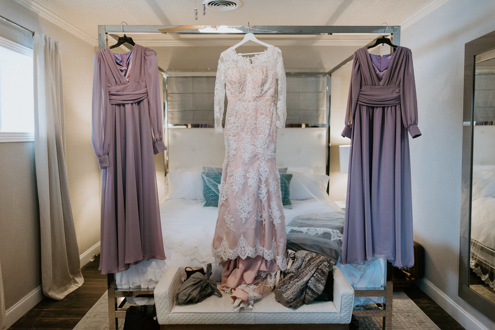 bride and bridesmaids dresses at austin texas wedding