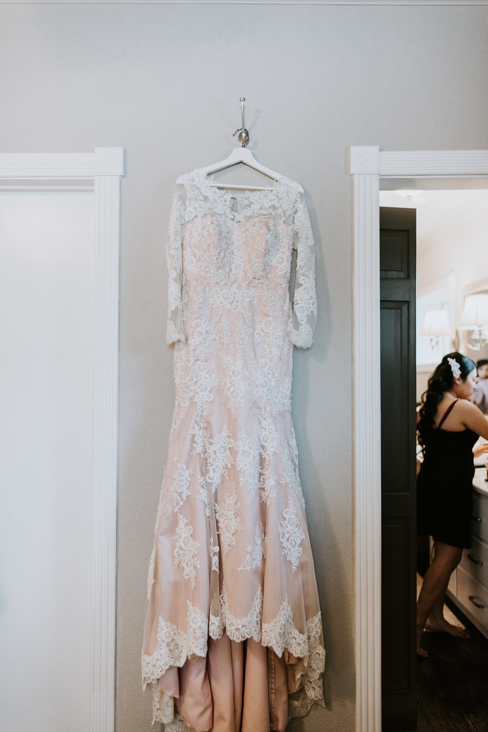 custom blush wedding dress