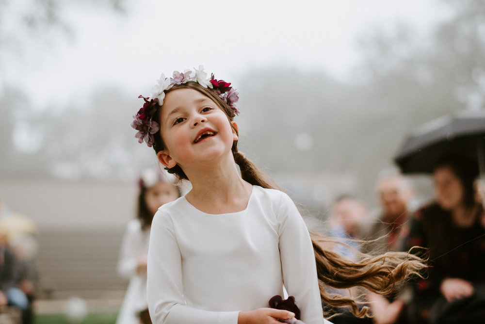 flower girl at stonehouse villa wedding