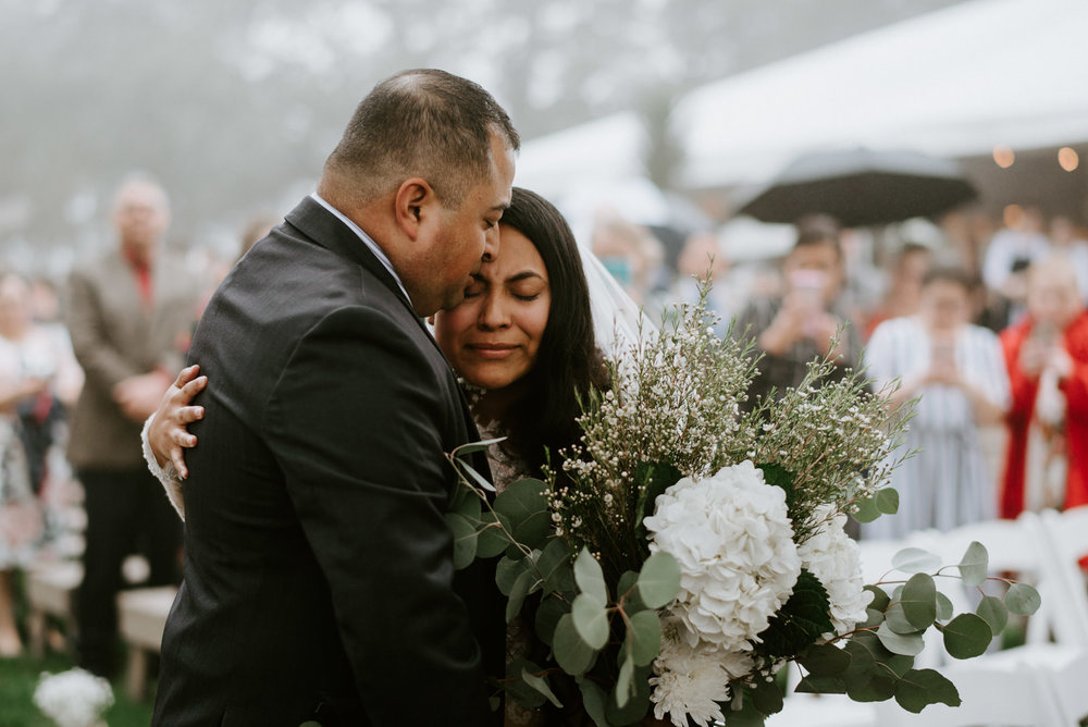 father gives away bride at austin wedding