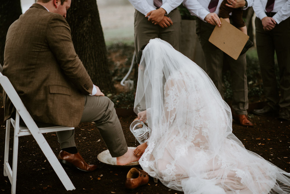 wedding feet washing ceremony in austin texas