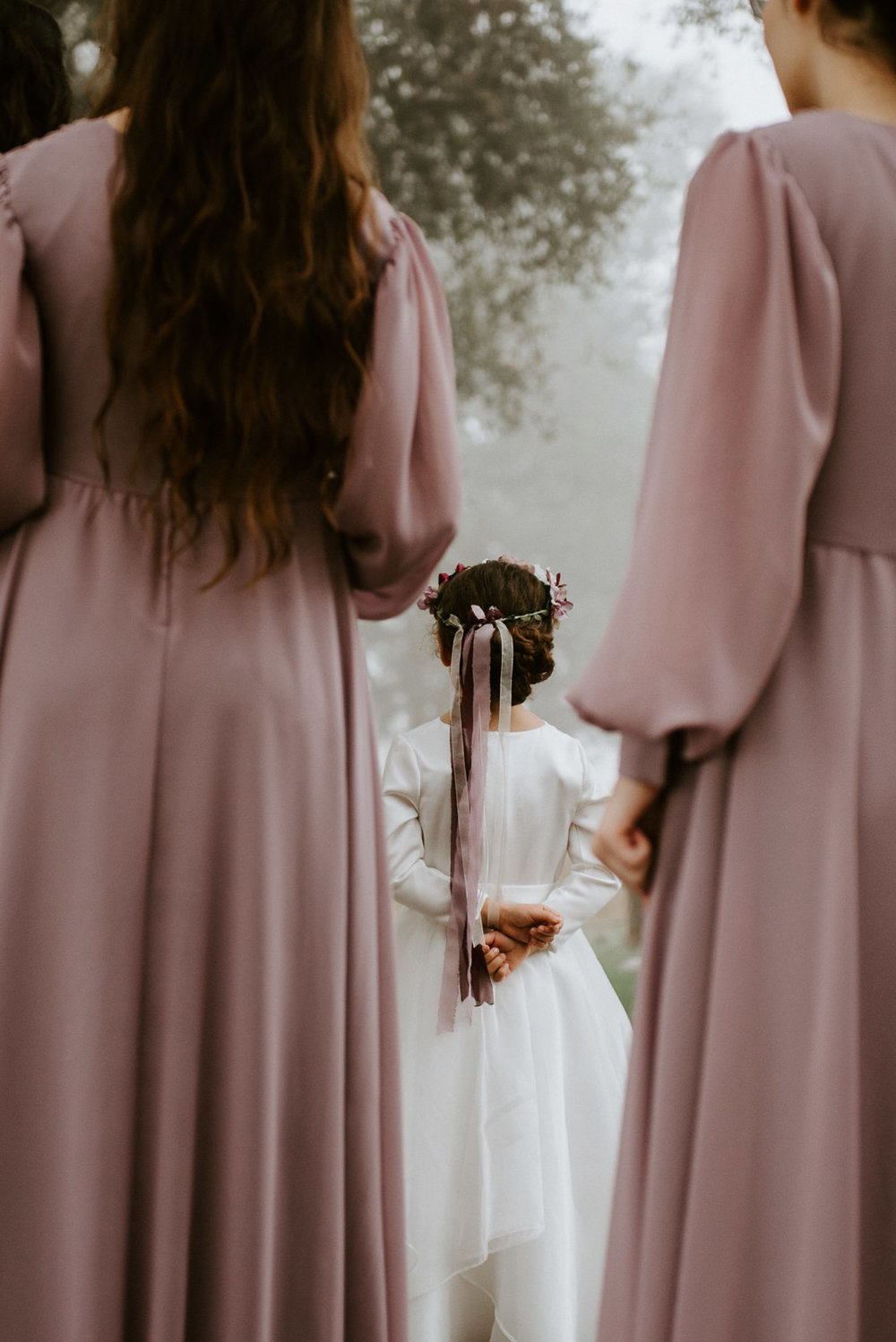 flower girl and bridesmaids at texas wedding