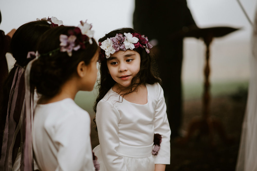 flower girls at texas hill country wedding