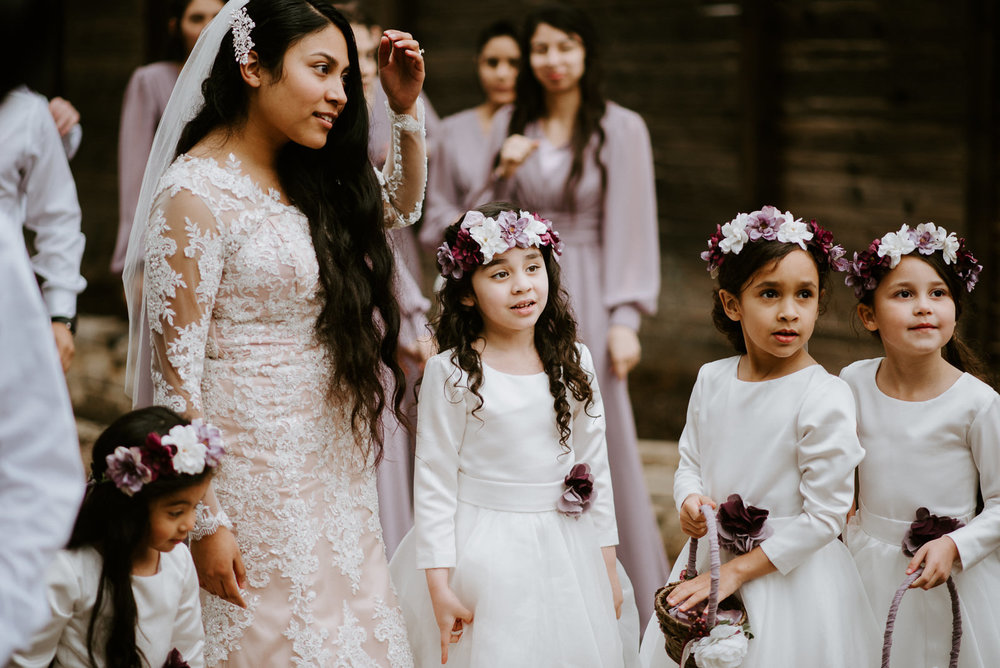 bride and flower girls after wedding ceremony in austin