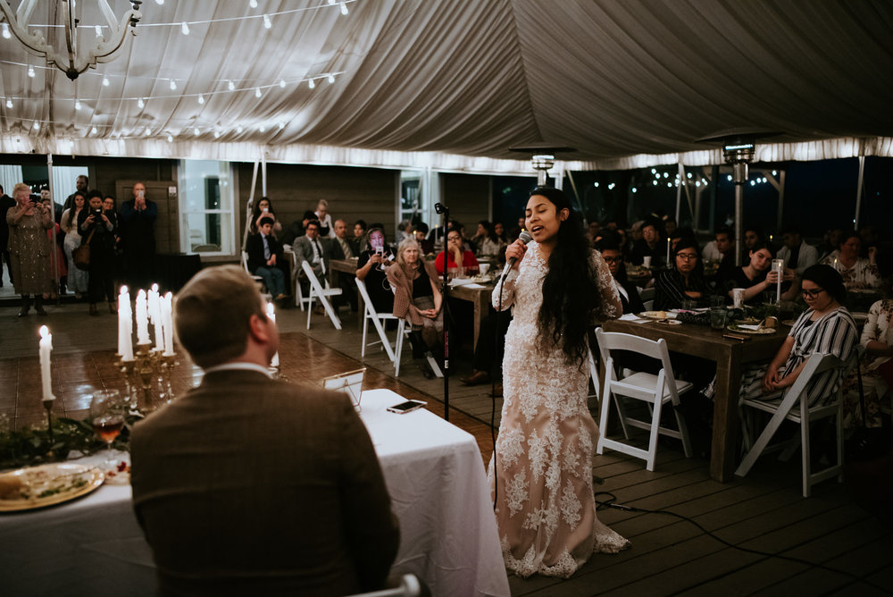 bride sings to groom at austin texas wedding