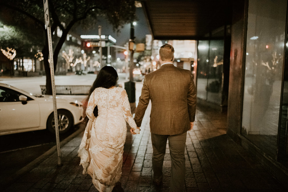 bride and groom in downtown austin